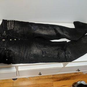 Zara Man Black Slim strech ripped jeans